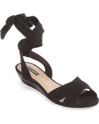 Ava & Aiden - Suede Ankle-wrap Sandal - Lyst