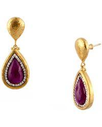 Gurhan Elements 24k 21.24 Ct. Tw. Diamond & Ruby Drop Earrings