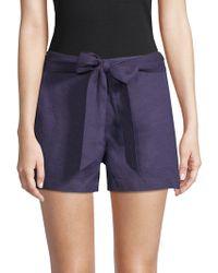 Saks Fifth Avenue Black - Tie-waist Linen Shorts - Lyst