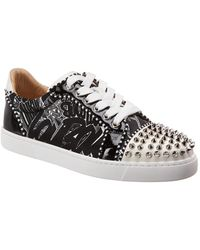 16a3a9ccf714 Christian Louboutin - Vieira Spikes Orlato Leather   Patent Trainer - Lyst