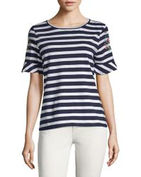 August Silk - Two-tone Striped Tee - Lyst