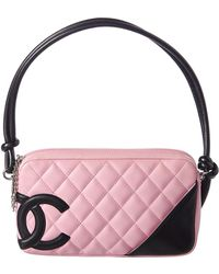 Chanel - Pink Quilted Lambskin Leather Cambon Pochette - Lyst