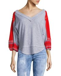 Free People - Embroidered Bubble-sleeve Top - Lyst