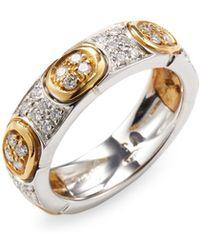 Vendoro - Pave Diamond 18k Yellow Gold Ring - Lyst