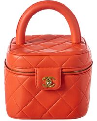 Chanel - Orange Quilted Lambskin Leather Vanity - Lyst