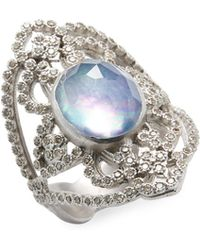 Armenta - Sterling Silver Diamond And Gemstone Open Oval Ring - Lyst