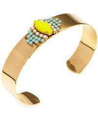 Sandy Hyun - Yellow & Blue Beaded Cuff Bracelet - Lyst