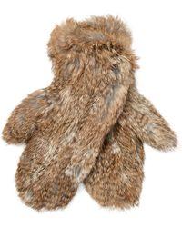 Surell - Long Hair Knit Mittens - Lyst