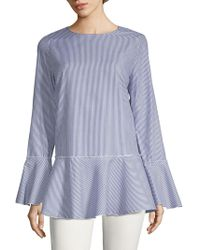 Philosophy By Republic - Striped Cotton Peplum Top - Lyst