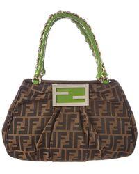 56ddb112c9b6 Fendi - Brown Zucca Canvas   Green Leather Tote - Lyst