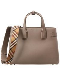 f389fac7ffb2 Lyst - Burberry Medium Banner House Check   Leather Tote in Brown