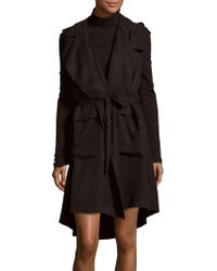 Saks Fifth Avenue Black - Solid Belted-waist Jacket - Lyst