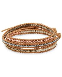 Chan Luu - Beaded Sterling Silver & Leather Bracelet - Lyst