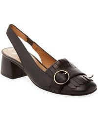 French Sole - Kilted Leather Sling Back Pump - Lyst