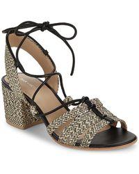 Pour La Victoire - Amada Raffia Ankle Strap Sandals - Lyst