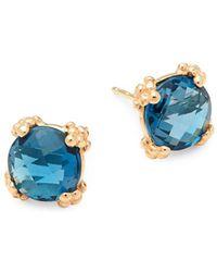 Anzie - London Blue Topaz And 14k Gold Stud Earrings - Lyst