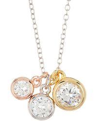 Adornia Triple Round Bezeled Charm Necklace - Metallic