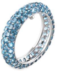 Estate Fine Jewelry - Estate 18k White Gold & Blue Topaz Eternity Band Ring - Lyst