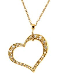 Tacori - Crescent Silhouette 18k Yellow Gold 0.28 Ct. Tw. Diamond Heart Pendant Necklace - Lyst