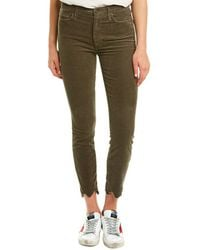 Mother Looker Taupe Corduroy High-rise Ankle Skinny Leg - Green