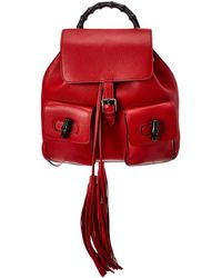 Gucci - Red Leather Bamboo Backpack - Lyst