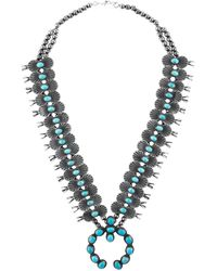 Estate Fine Jewelry - Vintage Harry Morgan Turquoise Squash Blossom Necklace - Lyst