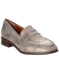 Aquatalia - Sharon Waterproof Metallic Suede Loafer - Lyst