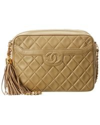 b6ea65b67370 Chanel - Beige Quilted Lambskin Leather Medium Camera Bag - Lyst
