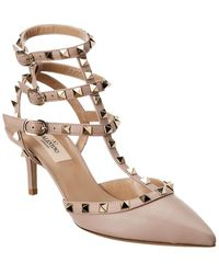 Valentino Rockstud Caged 65 Leather Ankle Strap Pump - Brown