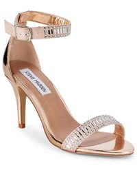 689ad54381c Lyst - Steve Madden Stecys Metallic Leather Sandals in Metallic