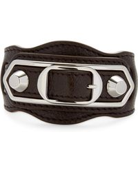 Balenciaga - Double Studded & Double Buckle Leather Bracelet - Lyst