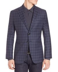 Armani - Tonal Plaid Wool Jacket - Lyst
