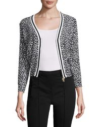 Tracy Reese - Tipped Cotton Intarsia Cardigan - Lyst
