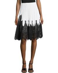 Oscar de la Renta | Pleated Lace Inset Skirt | Lyst