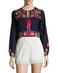 Kas - Kate Cotton Embroidered Crop Top - Lyst