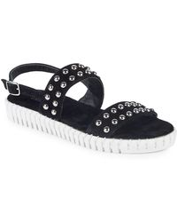 Steven by Steve Madden - Leather Studded Flat Sandals - Lyst