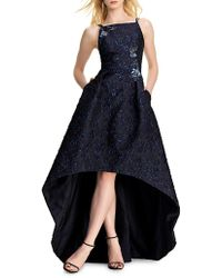 THEIA - Floral Embroidery Hi-lo Gown - Lyst