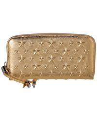 Jimmy Choo - Filipia Star Embellished Metallic Leather Wallet - Lyst