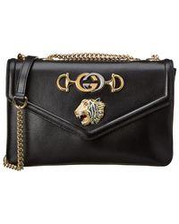 ff3df3e288549 Gucci Xl Black Embossed Leather Shoulder Bag in Black - Lyst