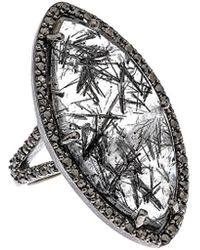 Bavna - Silver 16.23 Ct. Tw. Diamond & Black Rutilated Quartz Ring - Lyst