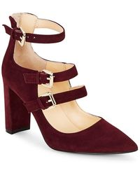 Ivanka Trump - Kamon Point Toe Buckled Suede Shoes - Lyst