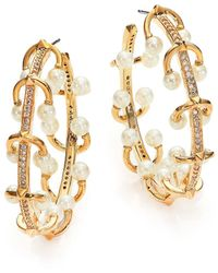 Eddie Borgo | 4mm White Pearl & Crystal Horseshoe Barbell Hoop Earrings/1.5"