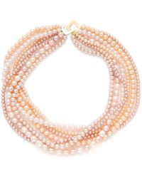 Belpearl - Seven Strand Peach Pearl Necklace - Lyst