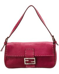1ccf7133da1 Fendi - Pink Selleria Leather Shoulder Bag - Lyst