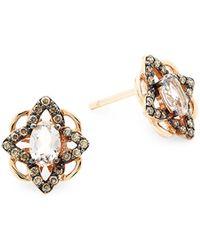 Le Vian - 14k Strawberry Gold Peach Morganite & Chocolate Diamonds Earrings - Lyst