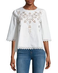 Love Token - Cutout Cotton Blouse - Lyst
