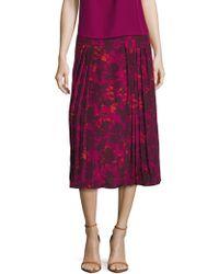 Zoe & Sam - Printed Pleated Midi Skirt - Lyst