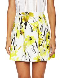 Alice + Olivia | Connor Pleated Printed Cotton And Silk-blend Mini Skirt | Lyst