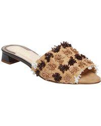 Jerome C. Rousseau Delair Raffia Pom Slip-on Sandal