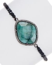 Adornia - Fine Jewellery Silver Gemstone Stretch Bracelet - Lyst